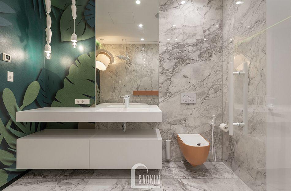 Mẫu thiết kế không gian phòng tắm 2 căn hộ 3 phòng ngủ chung chư The K Park