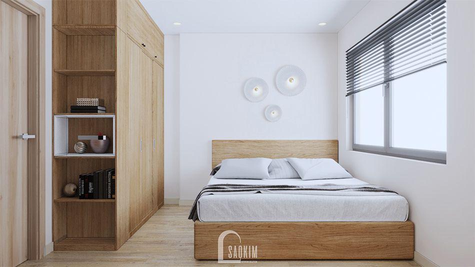 Không gian phòng ngủ master thiết kế căn hộ 70m2 Vinhomes OCean Park