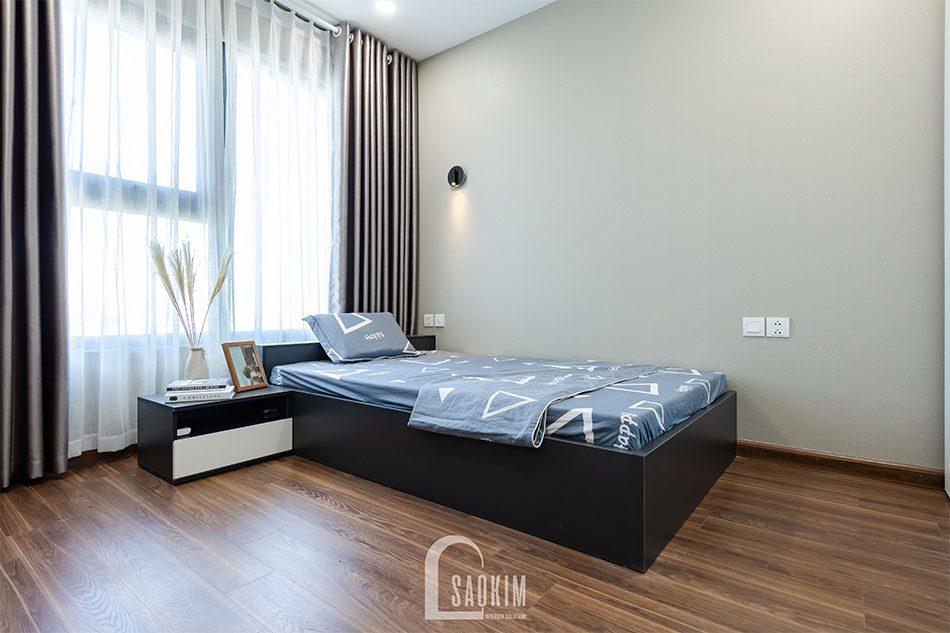Thi công nội thất phòng ngủ 2 chung cư 80m2 theo phong cách hiện đại Golden Park