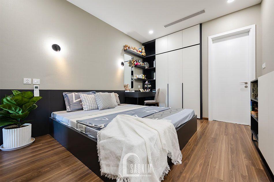 Thi công nội thất phòng ngủ master chung cư 80m2 theo phong cách hiện đại Golden Park