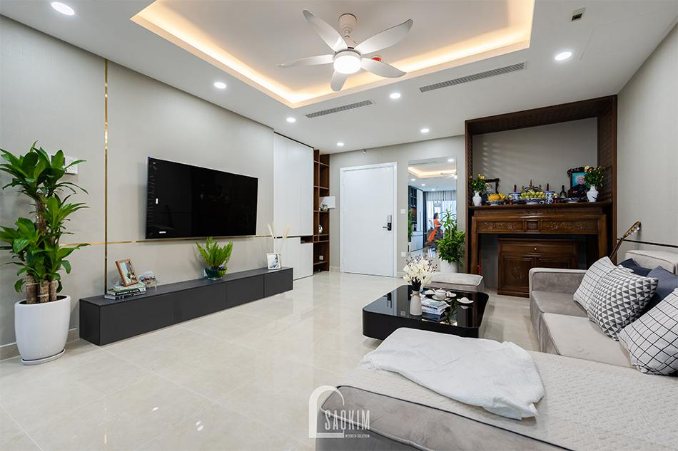 Hoàn thiện thi công phòng khách chung cư 80m2 theo phong cách hiện đại Golden Park
