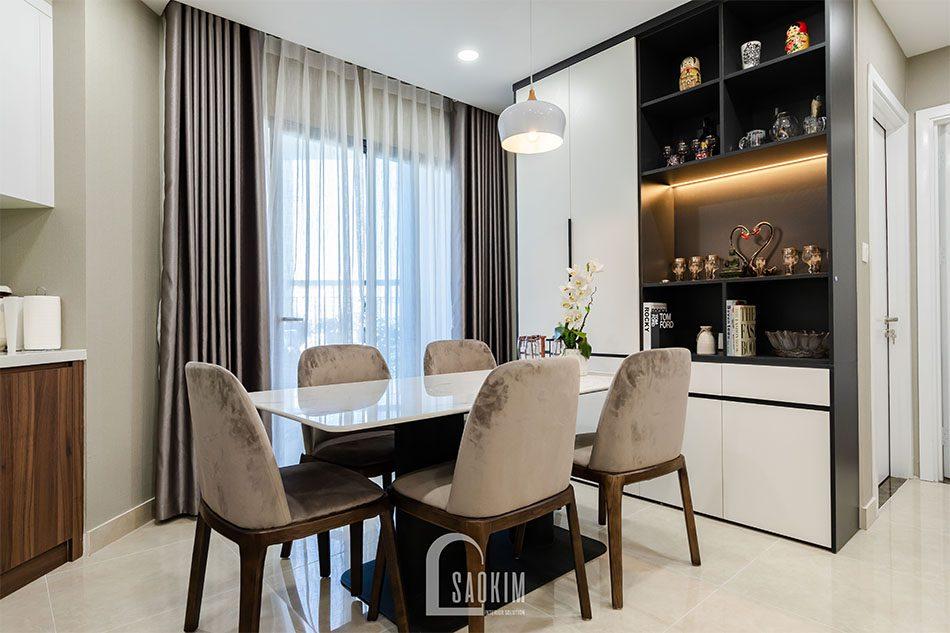 Thi công nội thất phòng ăn chung cư 80m2 theo phong cách hiện đại Golden Park