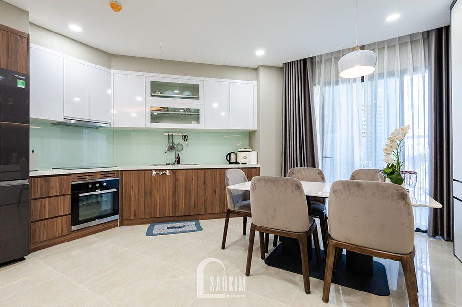 Thi công phòng bếp chung cư 80m2 theo phong cách hiện đại Golden Park