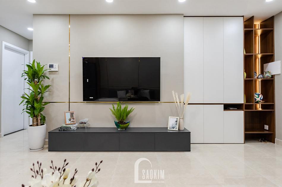 Thi công nội thất phòng khách chung cư 80m2 theo phong cách hiện đại Golden Park