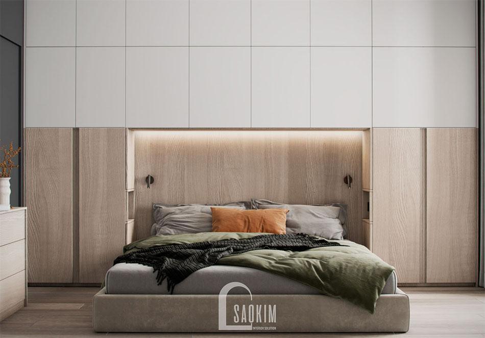 Thiết kế nội thất phòng ngủ master chung cư đẹp The Terra An Hưng
