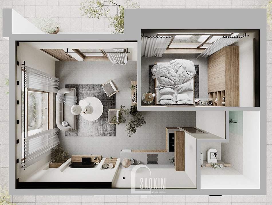 Mặt bằng bố trí nội thất phong cách Wabi Sabi căn nhà ở Hà Nam làm nơi nghỉ ngơi cuối tuần