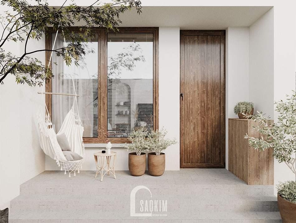 Mặt tiền thiết kế nhà phong cách Wabi Sabi ở Hà Nam làm nơi nghỉ ngơi cuối tuần