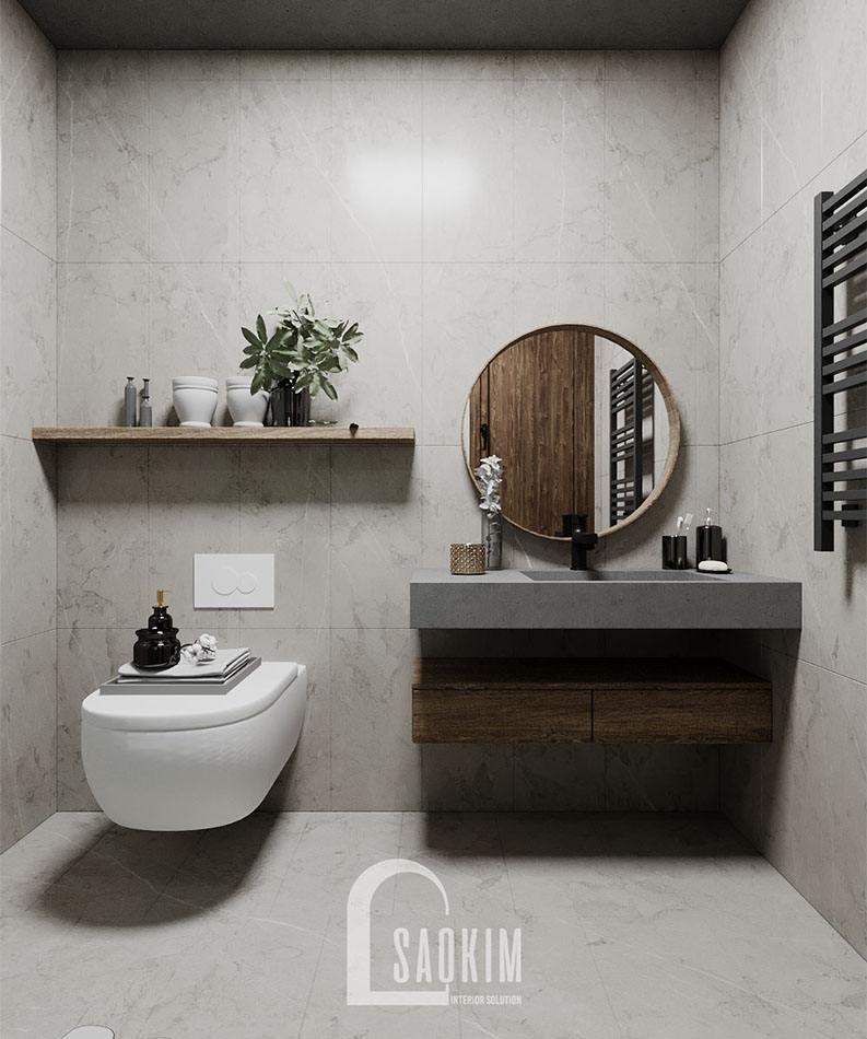 Thiết kế phòng tắm căn nhà nhỏ 58m2 ở Hà Nam theo phong cách Wabi Sabi