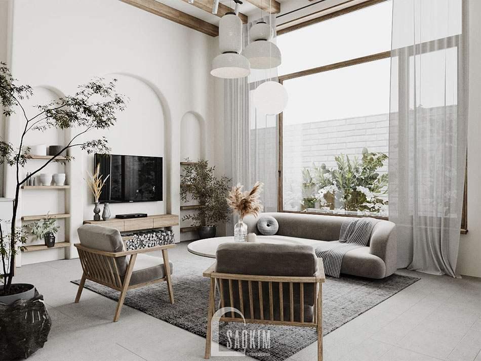 Thiết phòng khách nhà mặt đất ở Hà Nam - nội thất phong cách Wabi Sabi cực chill