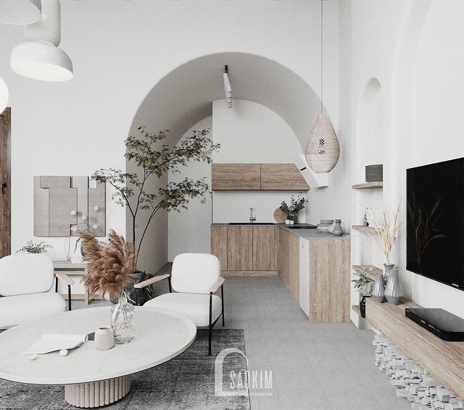 Thiết kế phòng bếp nhà mặt đất ở Hà Nam theo phong cách Wabi Sabi mang vẻ đẹp mộc mạc, cuốn hút