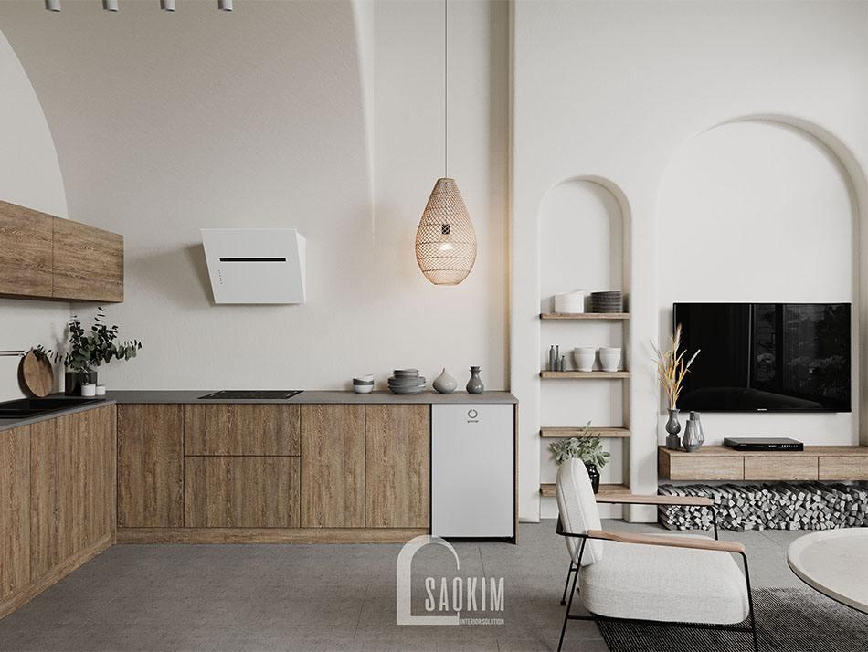 Thiết kế phòng bếp nhà mặt đất ở Hà Nam theo nội thất phong cách Wabi Sabi mang đến vẻ đẹp mộc mạc, cuốn hút