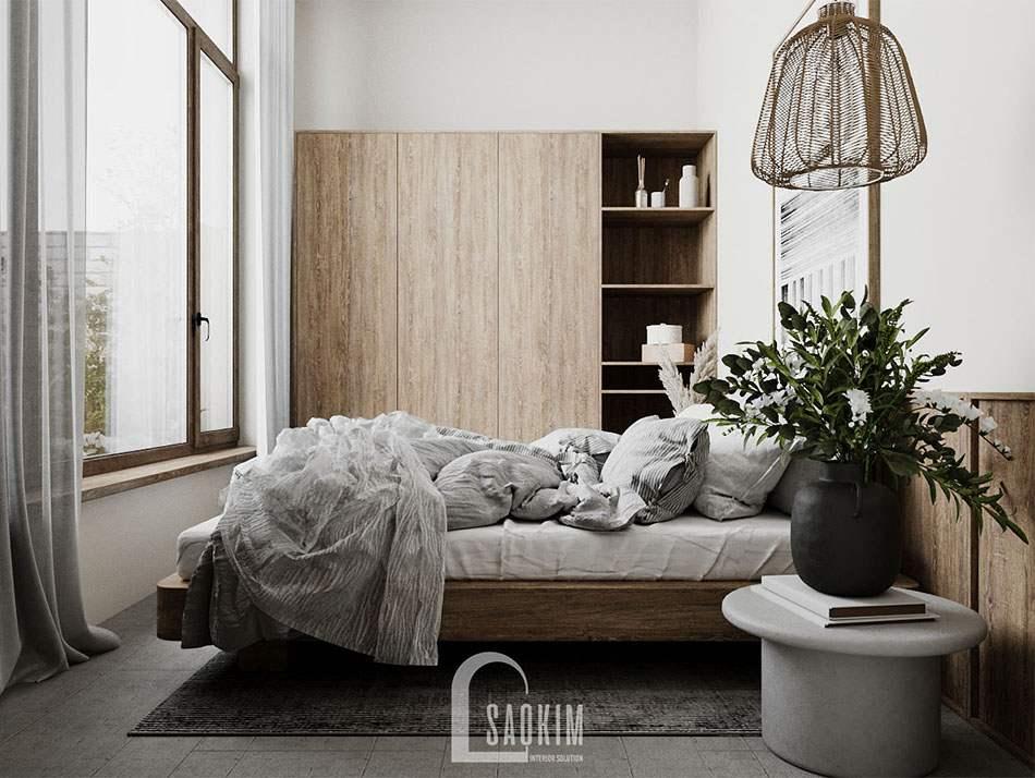 Thiết kế phòng ngủ phong cách Wabi Sabi mang đậm dấu ấn riêng mà gia chủ muốn truyền đạt