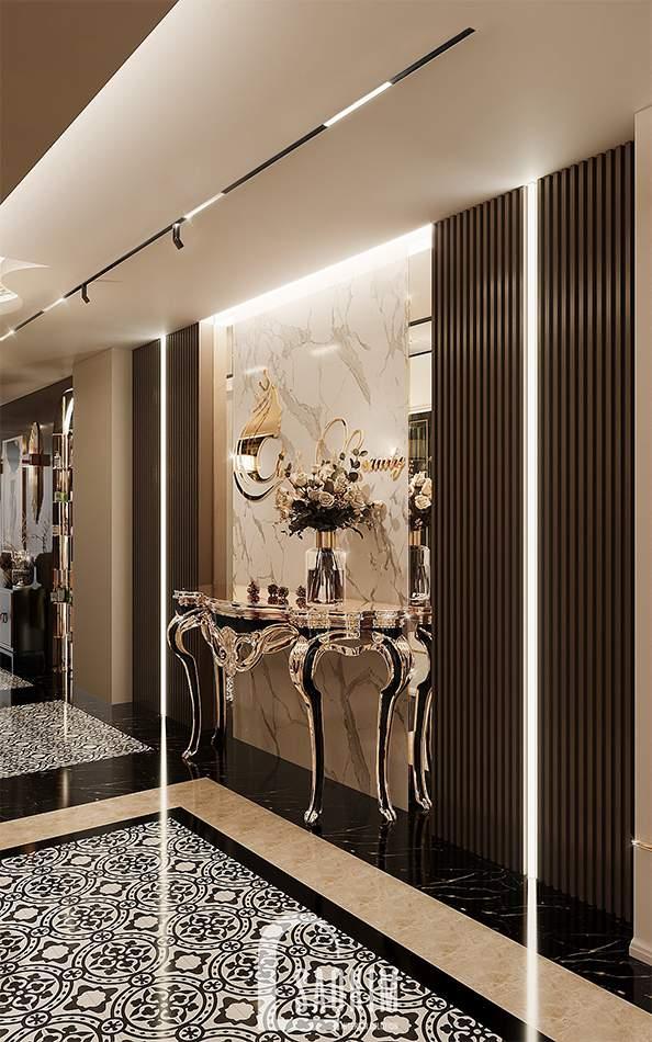 Bàn console đậm chất Tân Cổ Điển Luxury được bố trí ở ngoài hành lang