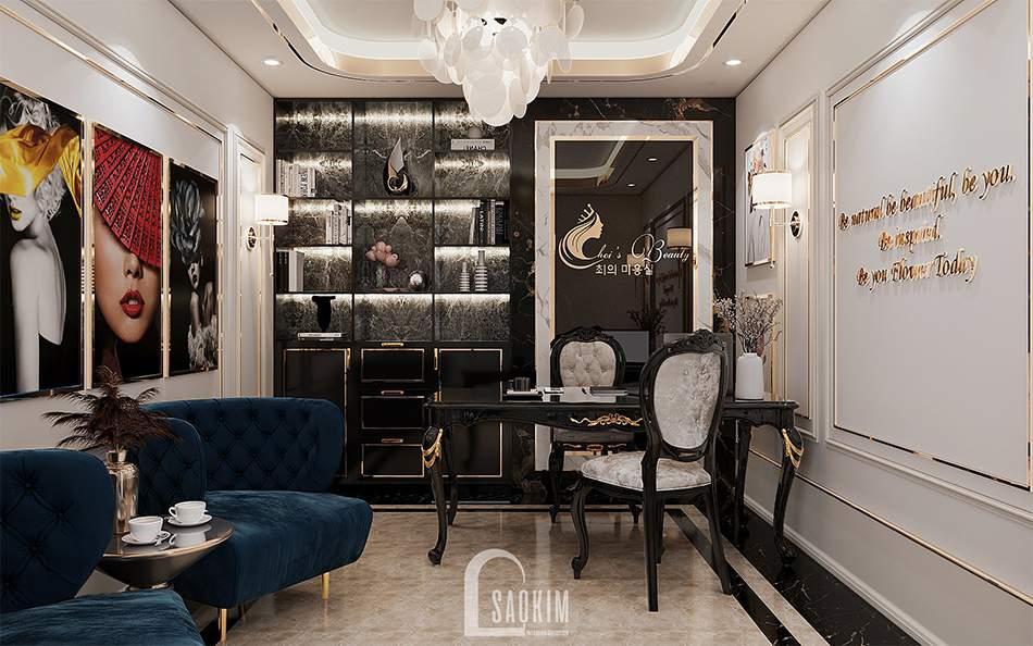 Thiết kế nội thất phòng tư vấn trị liệu, làm đẹp spa cao cấp Choi's Beauty theo phong cách Tân cổ điển Luxury