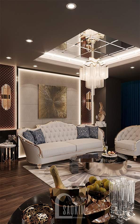 Thiết kế phòng tiếp khách của spa cao cấp Choi's Beauty theo phong cách Tân cổ điển Luxury