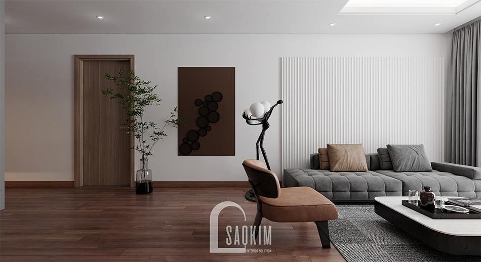 Thiết kế phòng khách chung cư 110m2 Emerald Center Park Mỹ Đình kết hợp các gam màu trắng, xám và nâu cam