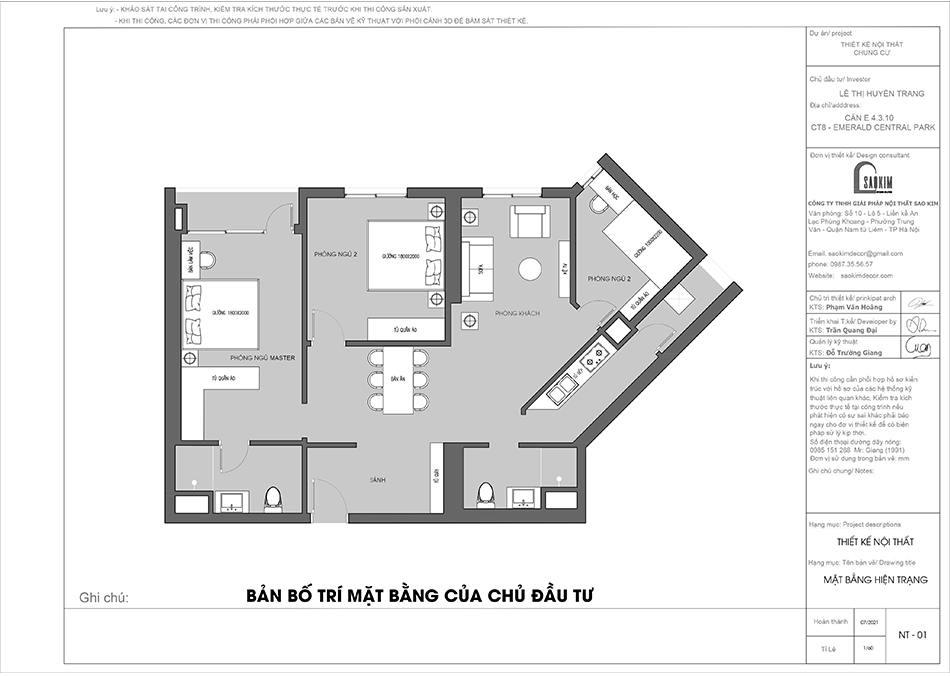Mặt bằng hiện trạng thiết kế nội thất chung cư 110m2 của chủ đầu tư