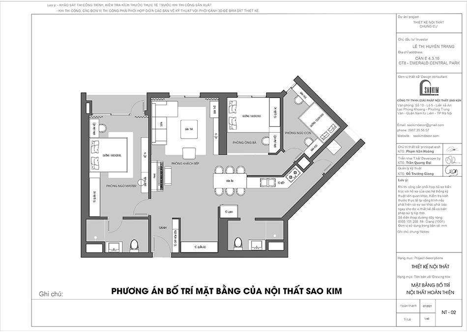 Mặt bằng 2D bố trí thiết kế chung cư 110m2 theo phương án của nội thất Sao Kim
